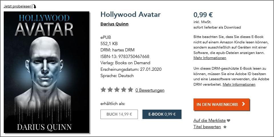 Hollywood Avatar auf BoD